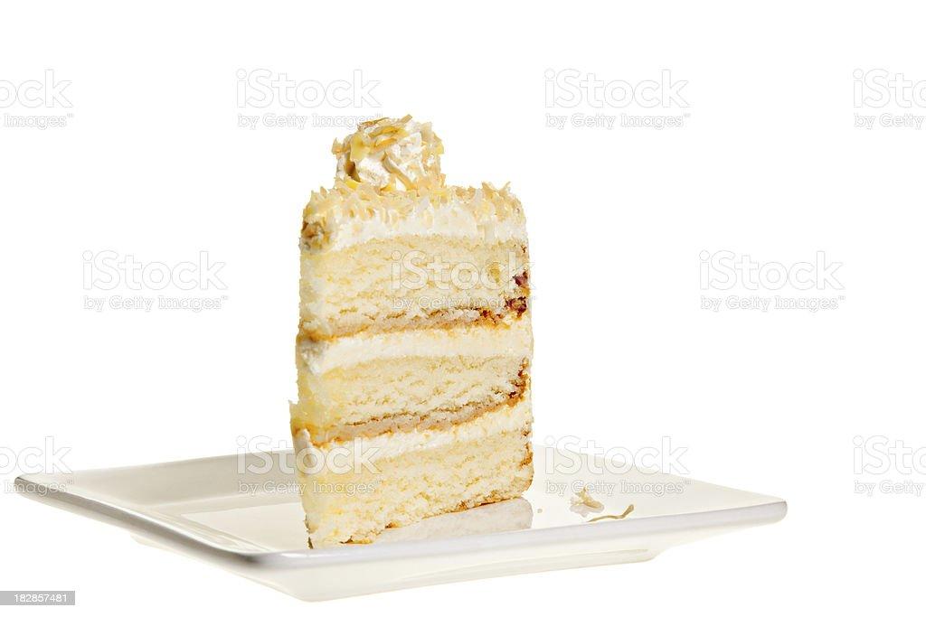 Lemon Coconut Cake Slice royalty-free stock photo