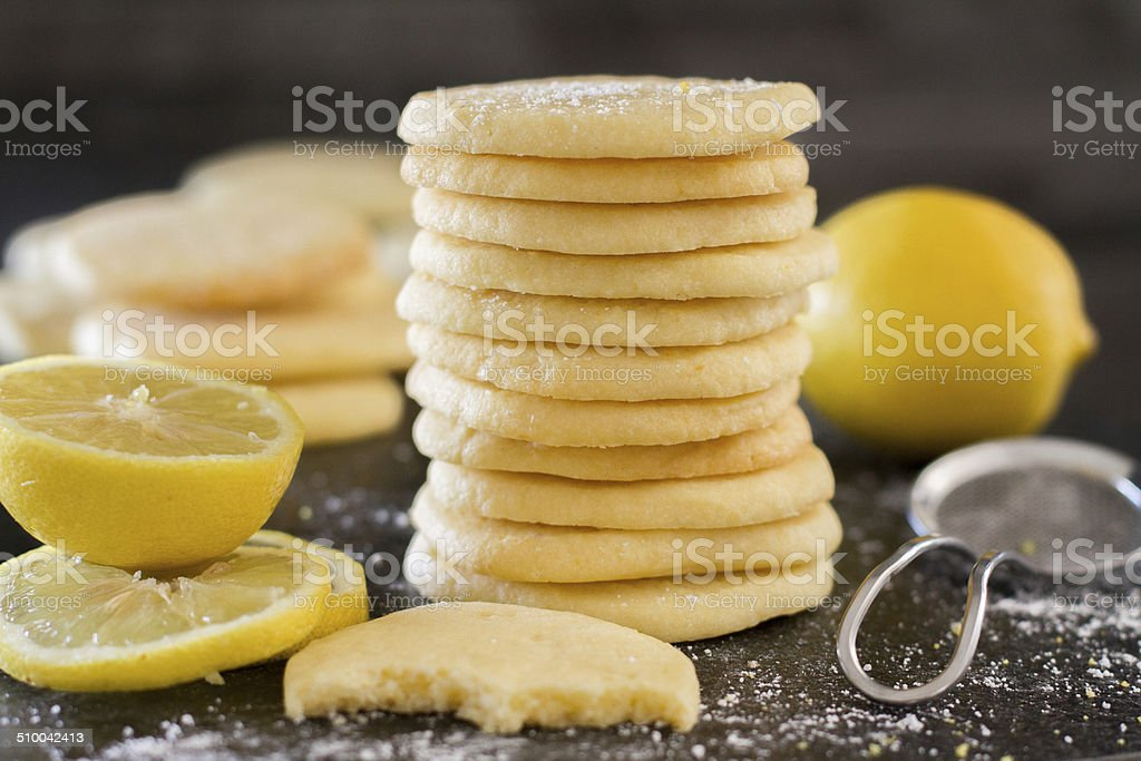 lemon cookie bite - horiz high angle stock photo