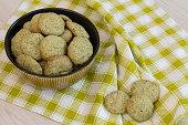 Lemon cookies in bowl