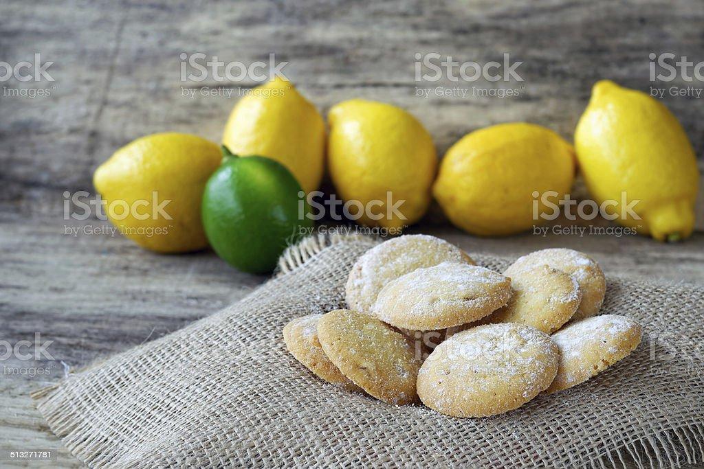 Lemon cookies sprinkled with powdered sugar stock photo