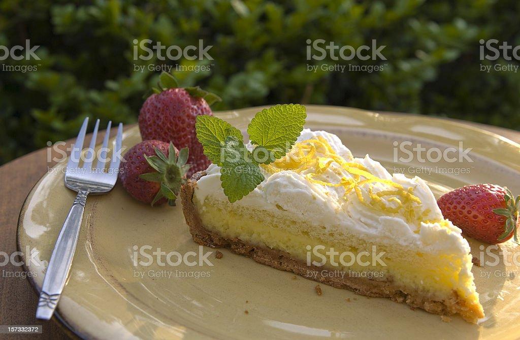 Lemon Cream Cake, Gourmet Summer Custard Tart Pie Dessert Slice royalty-free stock photo