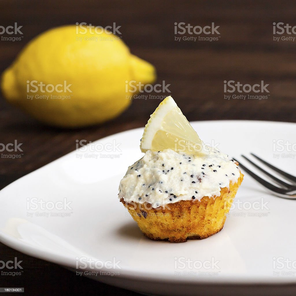 Lemon cupcake stock photo