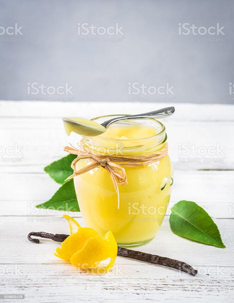 Lemon curd in a jar. stock photo