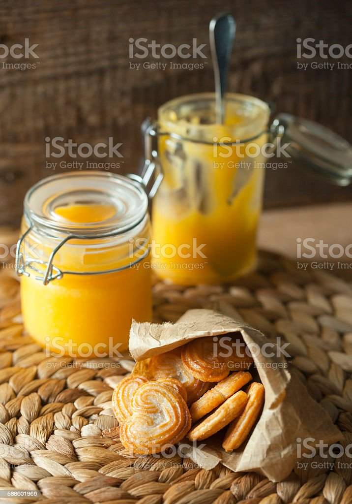 Lemon curd with cookies stock photo