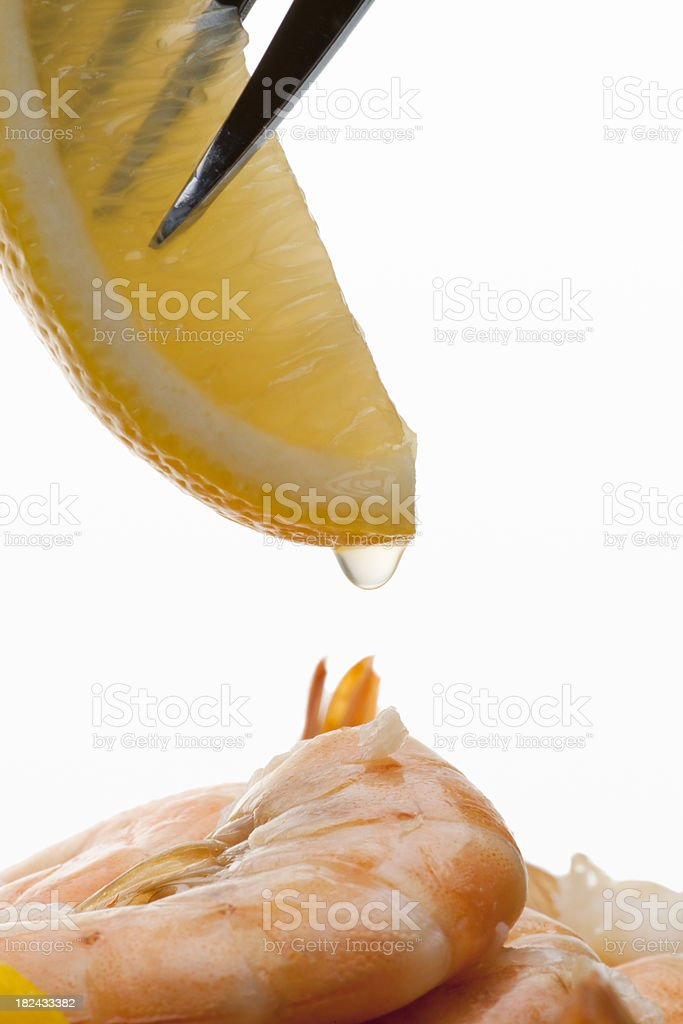 Lemon Drop on Prawns stock photo