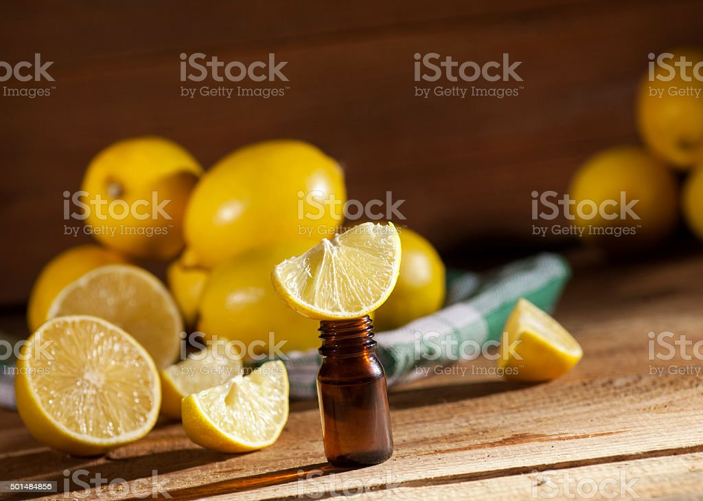 Lemon essential oil stock photo