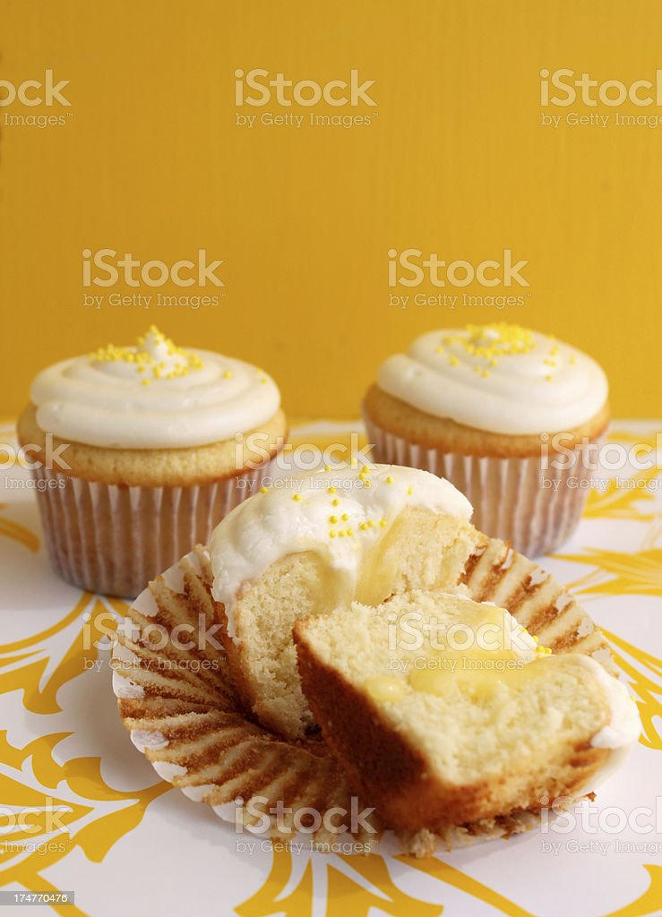 Lemon filled cupcake royalty-free stock photo