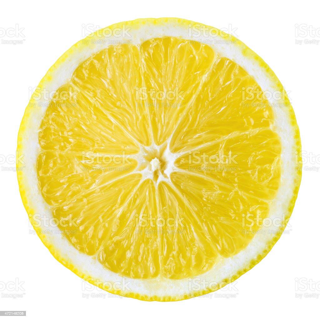Lemon fruit slice. Circle isolated on white. stock photo