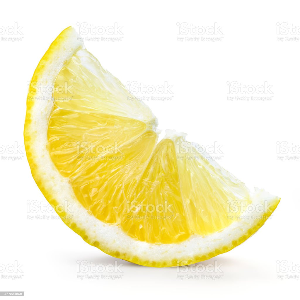 Lemon fruit. Slice isolated on white stock photo