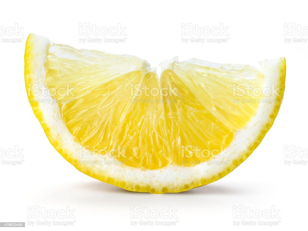 Lemon fruit. Slice isolated on white stock photo