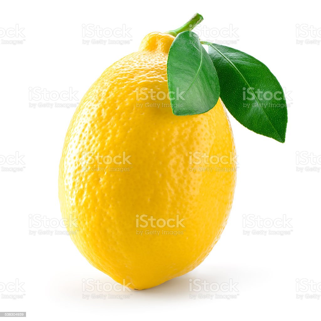 Lemon fruit with leaves isolated on white stock photo