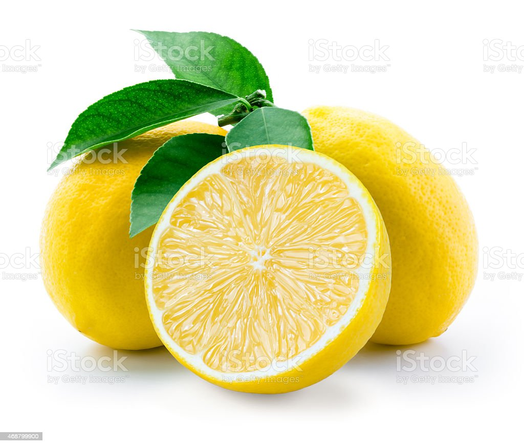Lemon. Fruit with leaves on a white background. stock photo