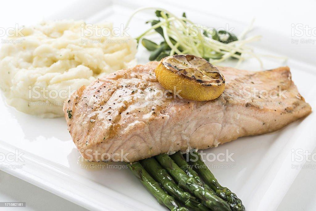 Lemon Grilled filet of  Salmon royalty-free stock photo