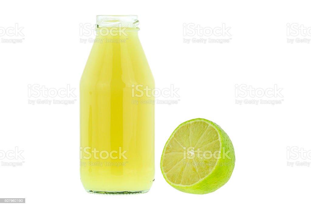 Lemon juice and seedless Tahiti hybrid lemons isolated on white stock photo