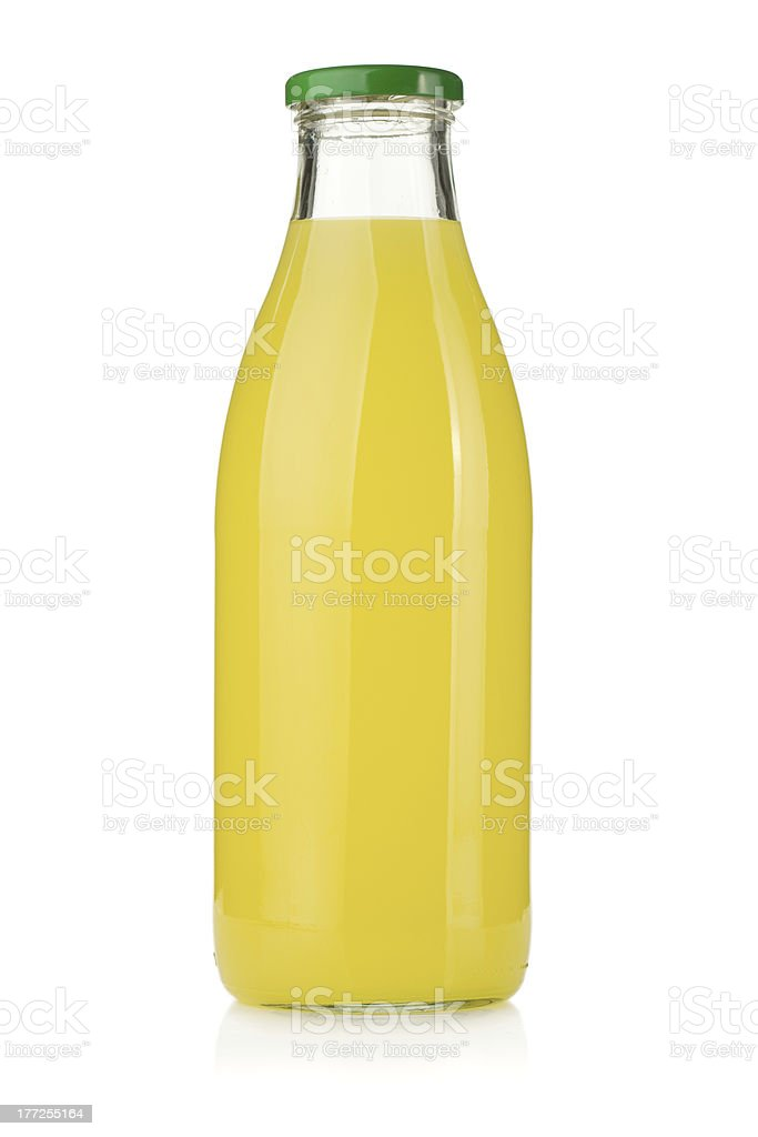 Lemon juice bottle stock photo