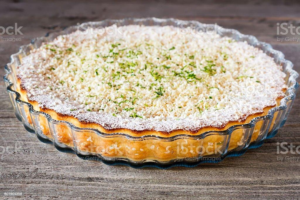 Lemon Lime Impossible Pie Close-up stock photo