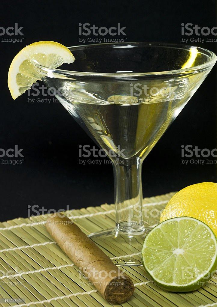 Lemon & Lime Martini and Cigar stock photo