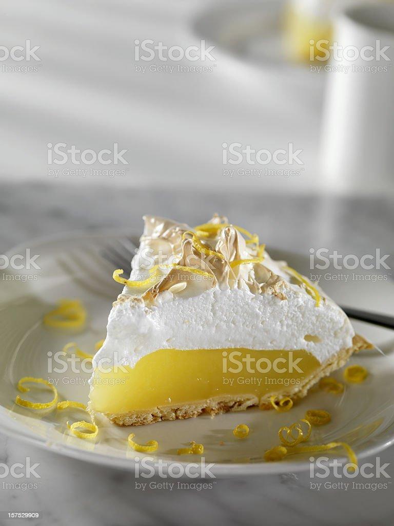 Lemon Meringue Pie with Coffee stock photo