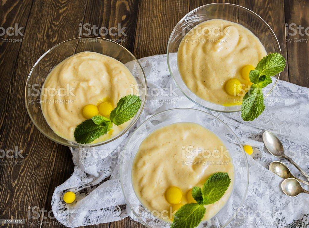 Lemon mousse in glasses stock photo