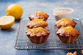 Lemon muffins cakes, financiers on cooling rack Blue stone background