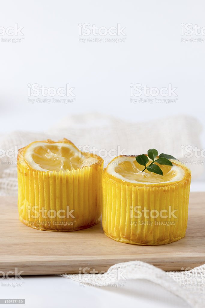 Lemon muffins with copy space royalty-free stock photo