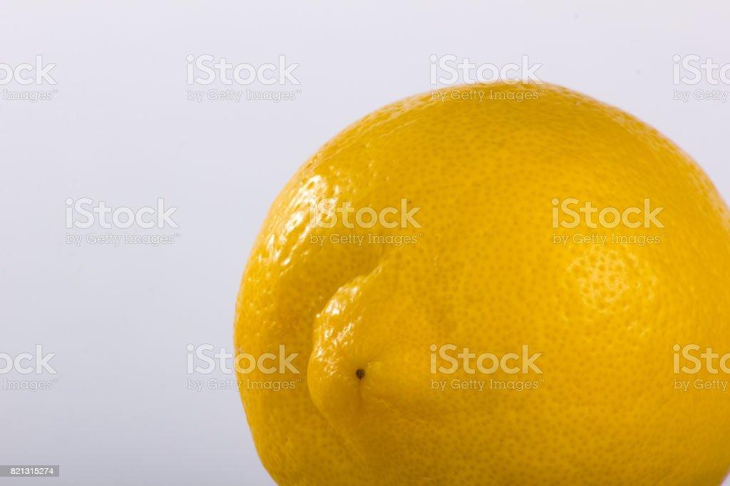 Lemon Offset Closeup on Plain Background stock photo