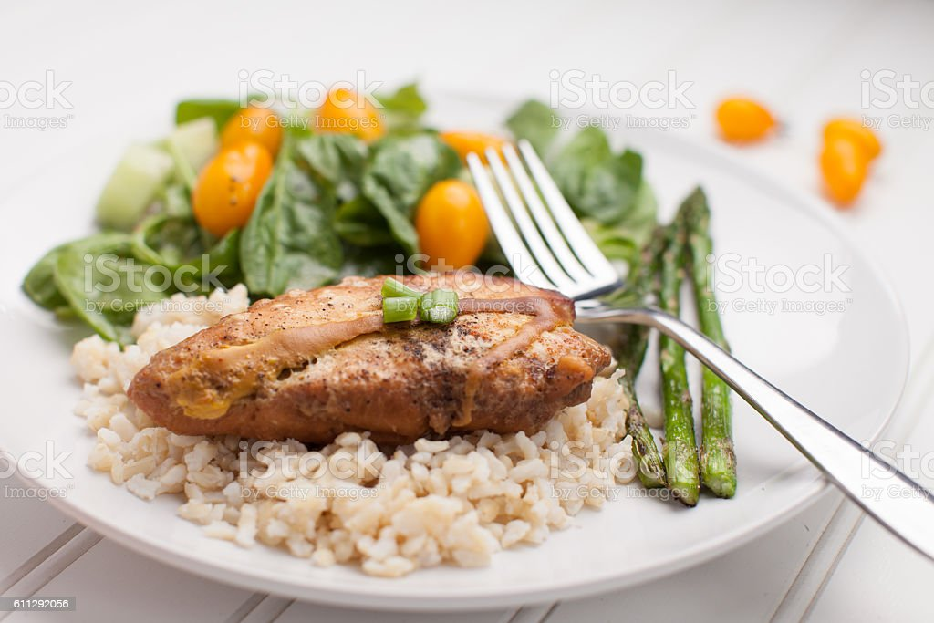 Lemon Pepper Chicken with Rice stock photo