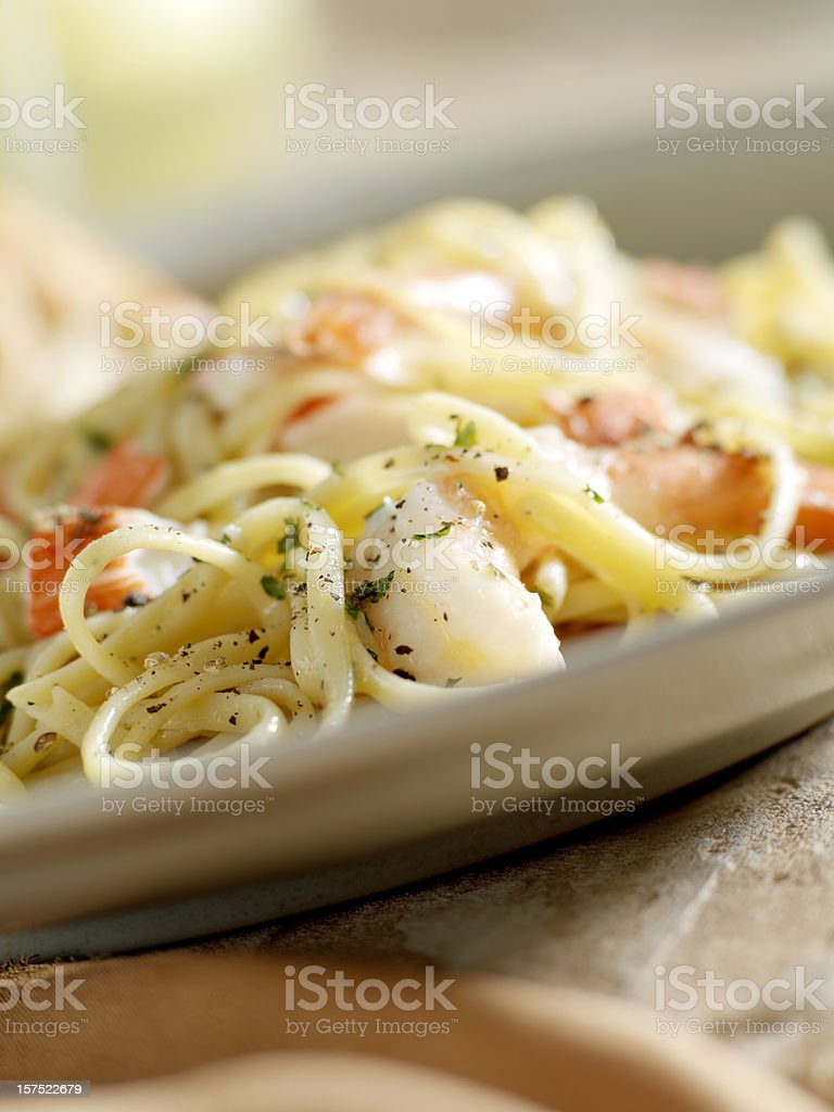 Lemon Pepper Linguini with Lobster royalty-free stock photo