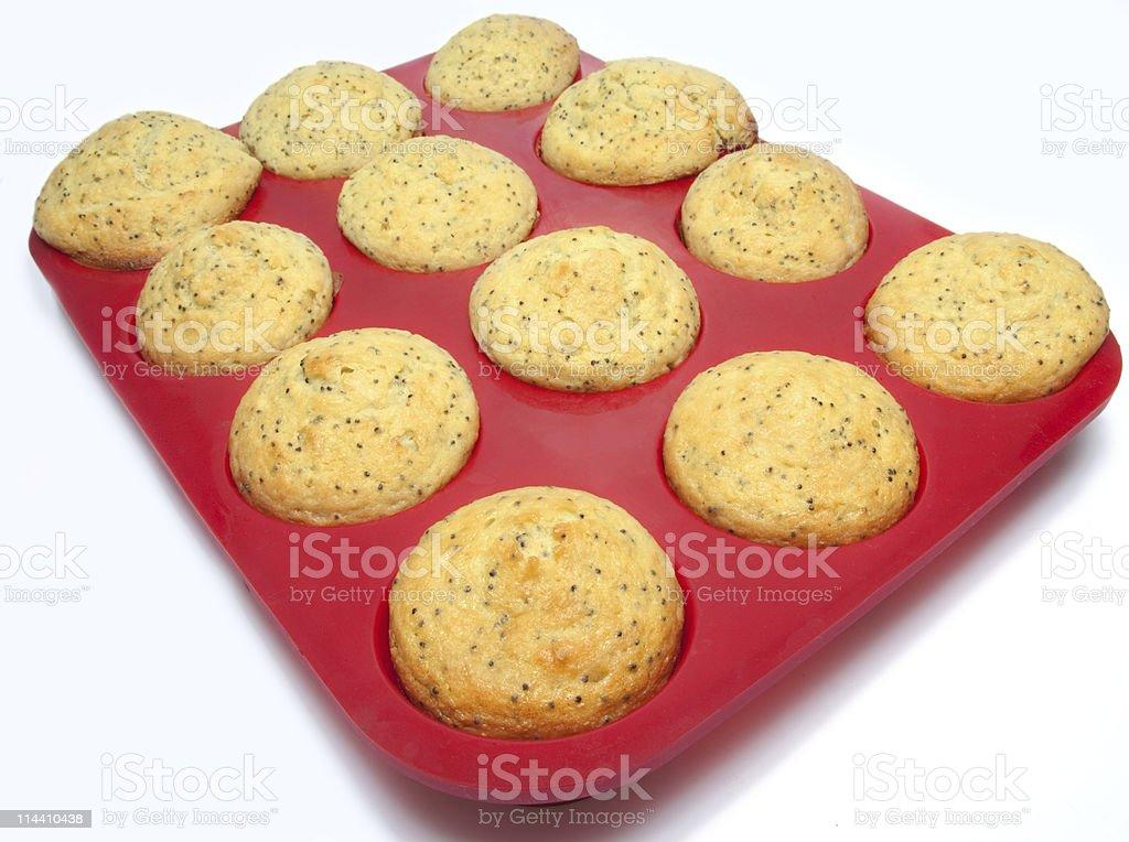 lemon poppy seed muffins stock photo