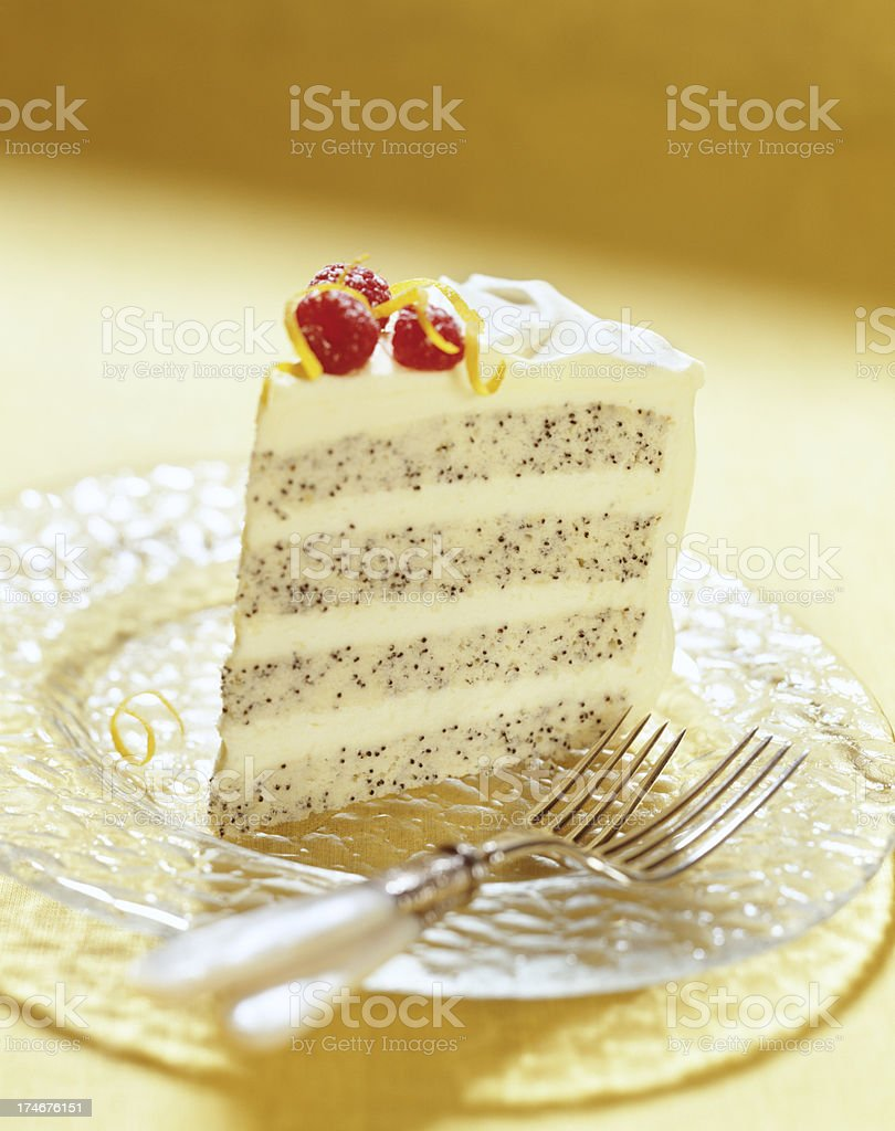 Lemon poppyseed Cake royalty-free stock photo