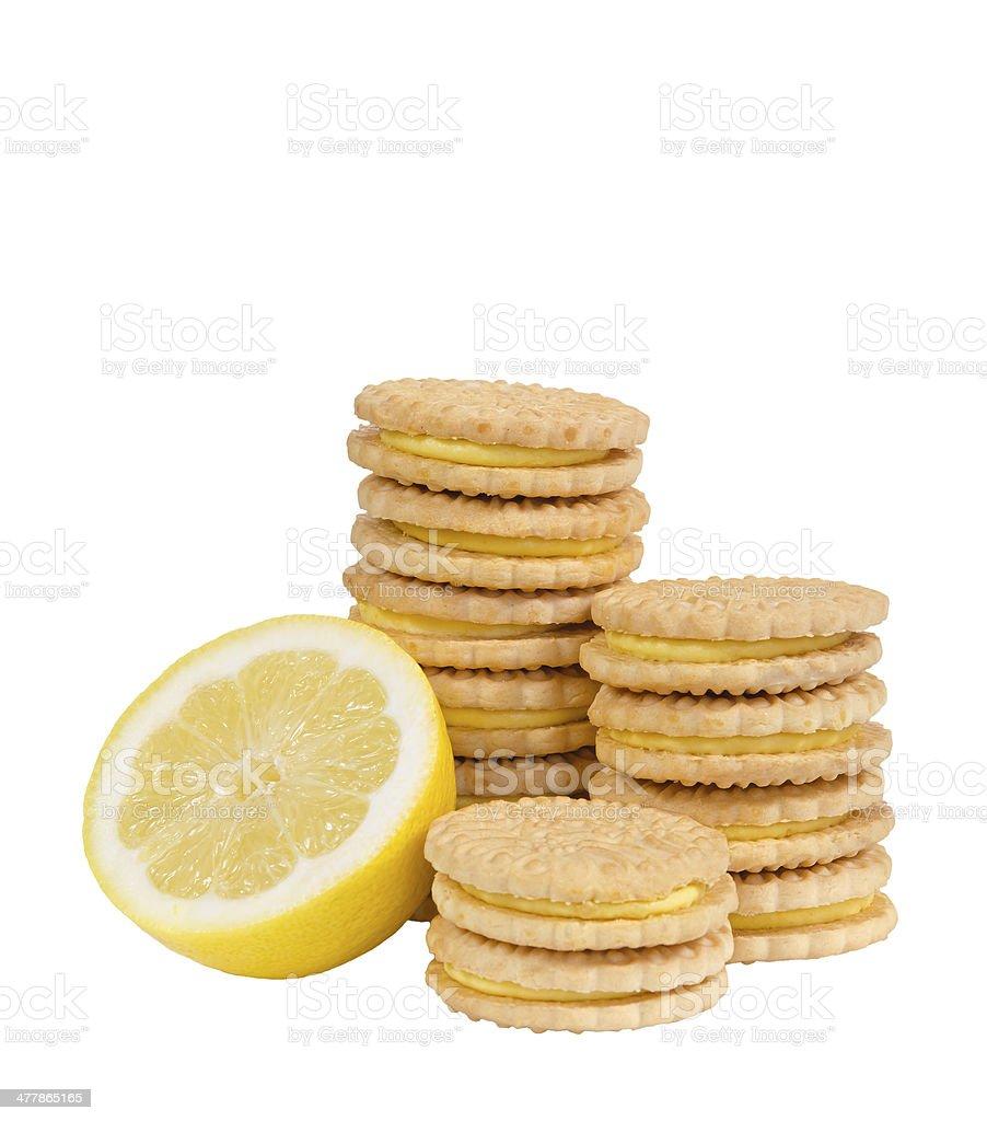 Lemon sandwich creme cookies royalty-free stock photo
