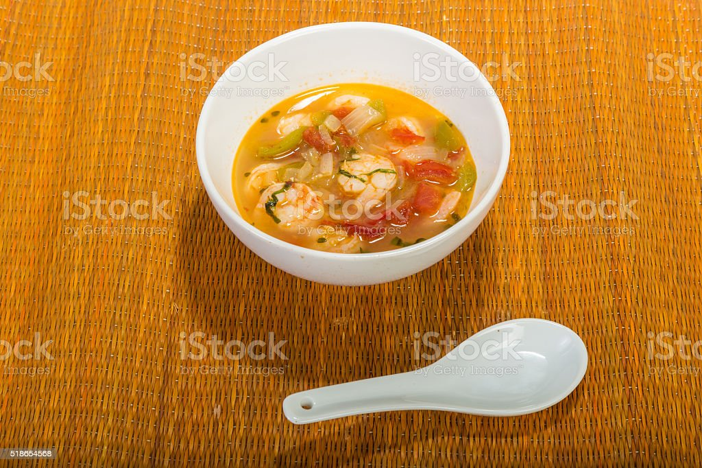Lemon Shrimp Soup on Bamboo stock photo