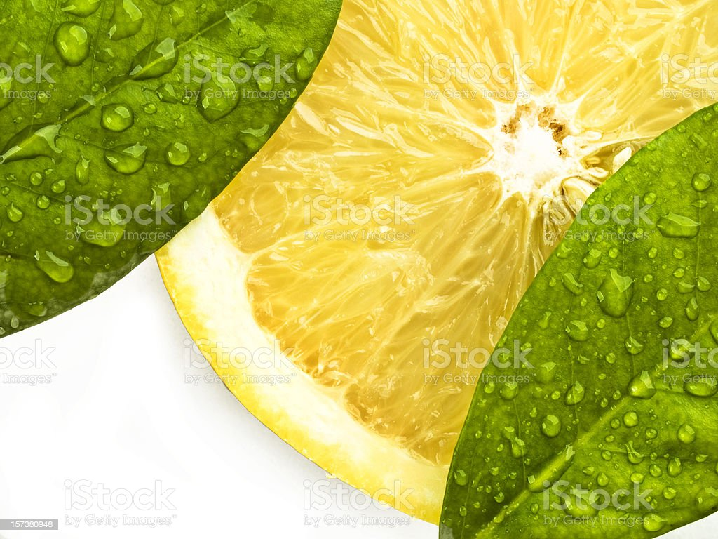 Lemon slice and leaves royalty-free stock photo