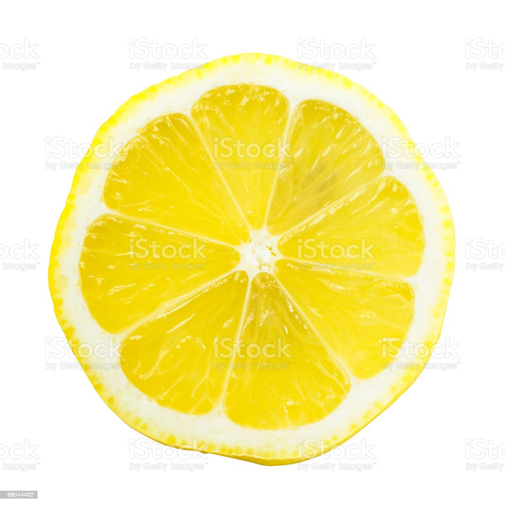 Lemon Slice Over White with a Bright Yellow royalty-free stock photo