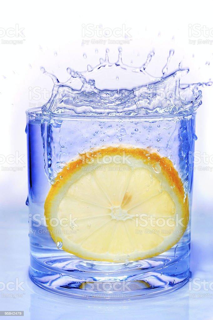 Lemon slice splash royalty-free stock photo