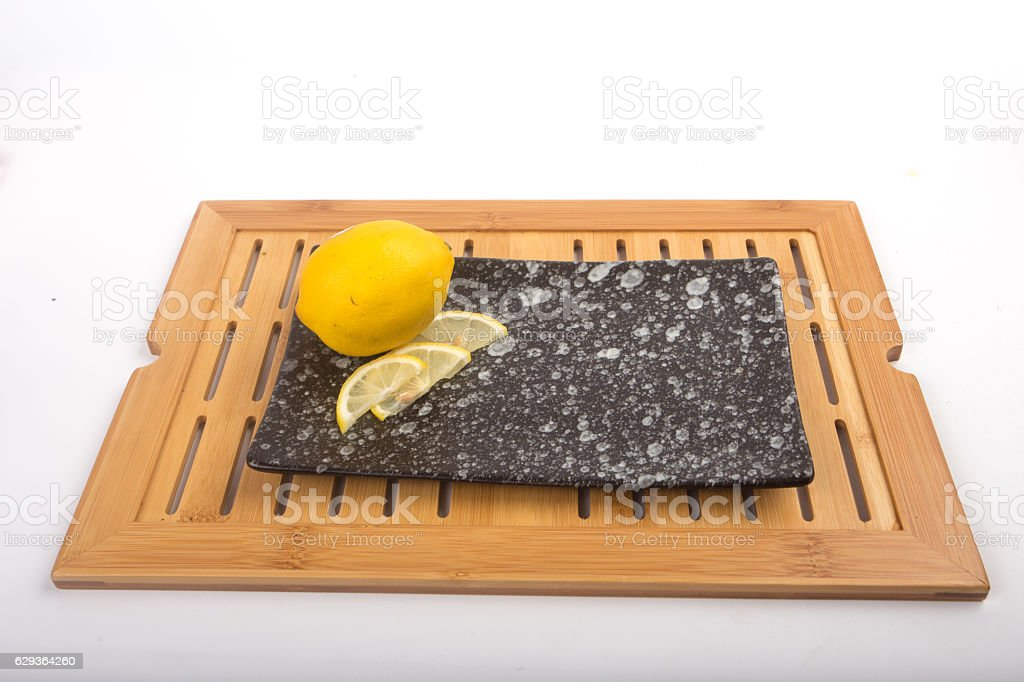 Lemon sliced from the stone. stock photo