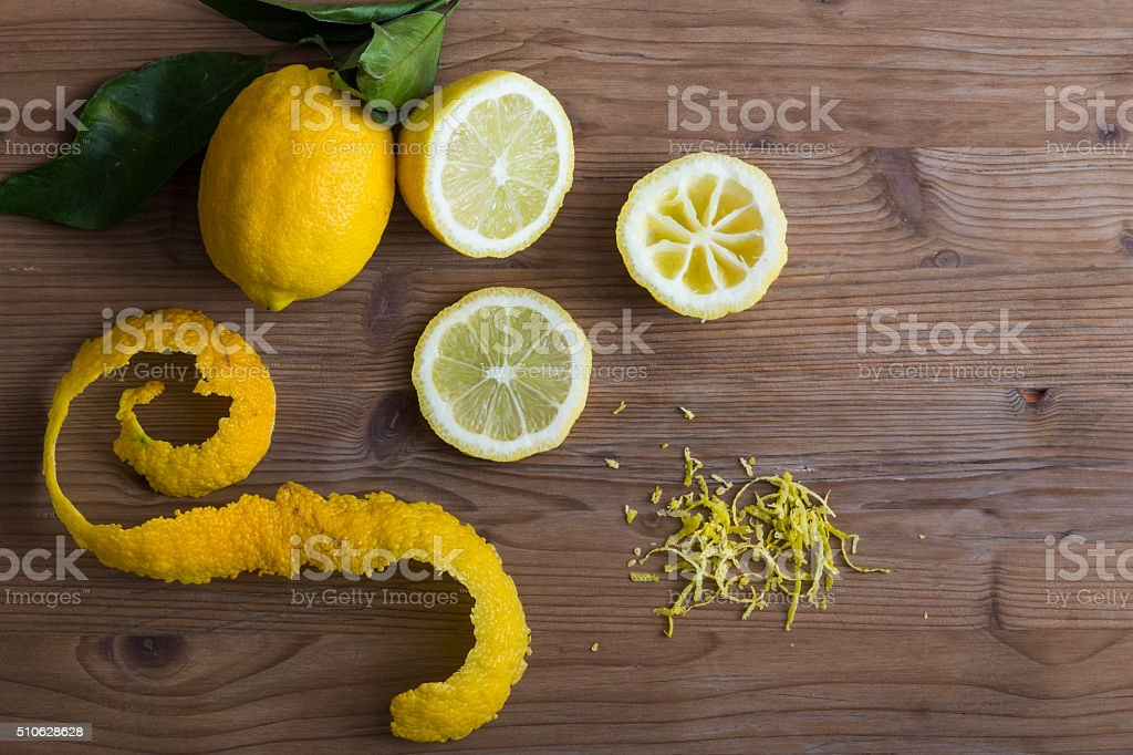 Lemon slices and zest stock photo