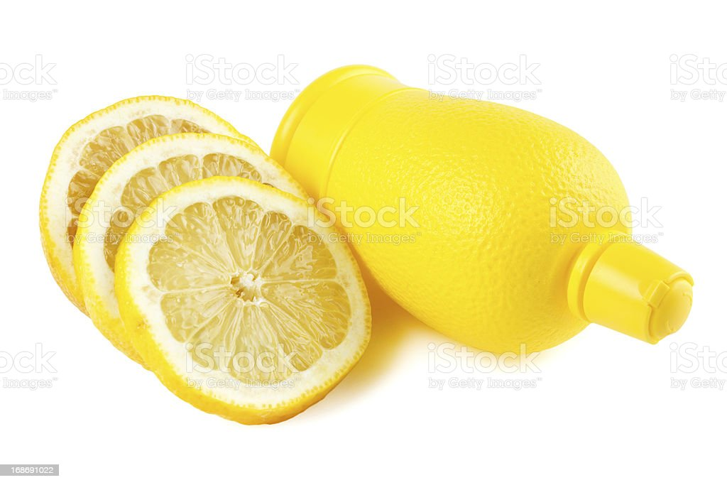 Lemon slices with bottle of juice royalty-free stock photo