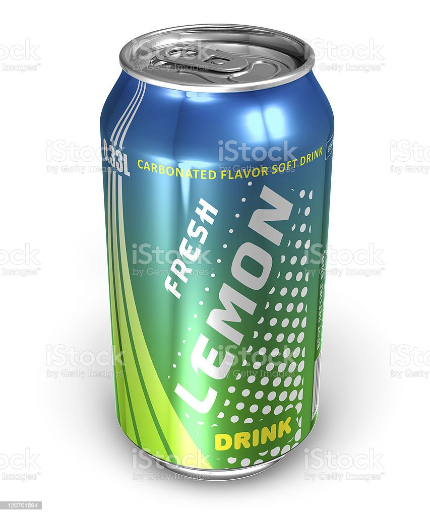 Lemon soda drink in metal can stock photo