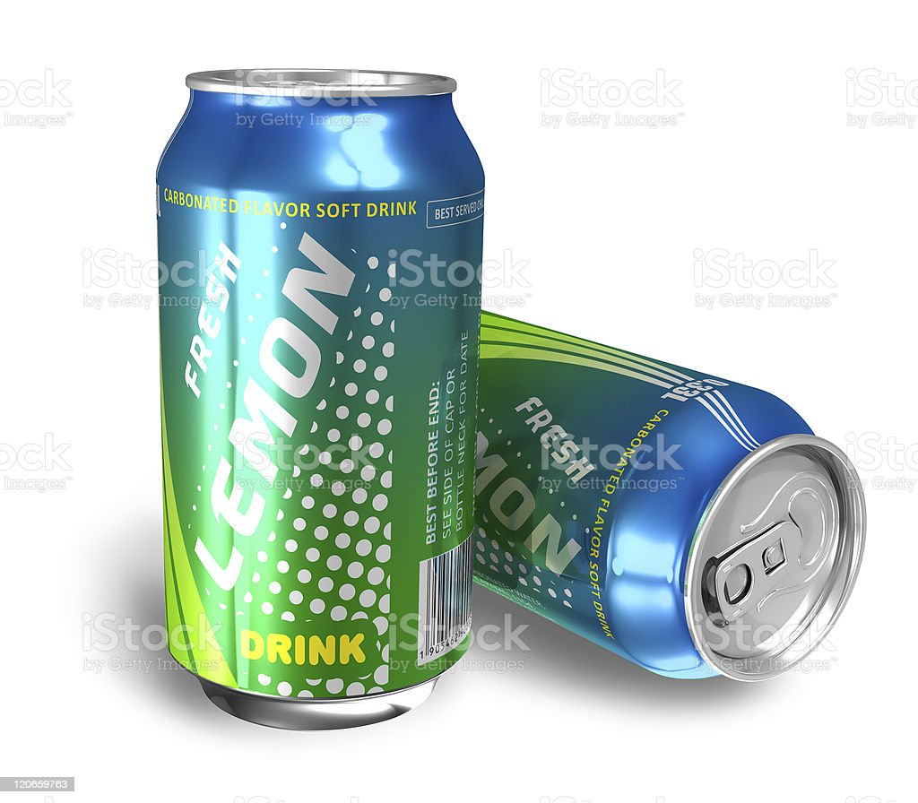 Lemon soda drinks in metal cans royalty-free stock photo