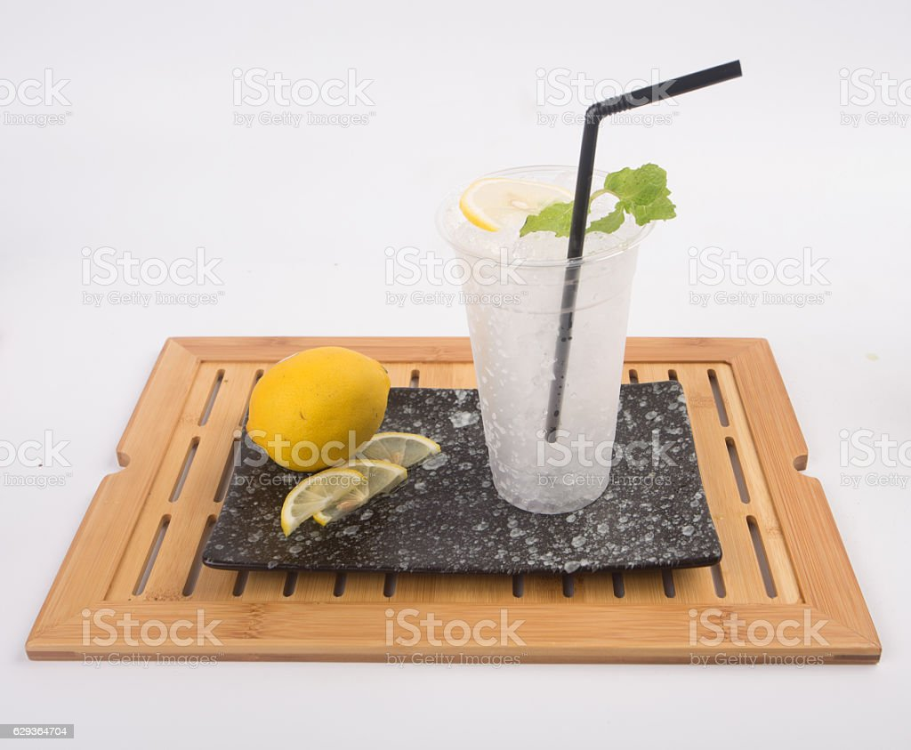 Lemon soda in a glass of freezing thirst quencher stock photo