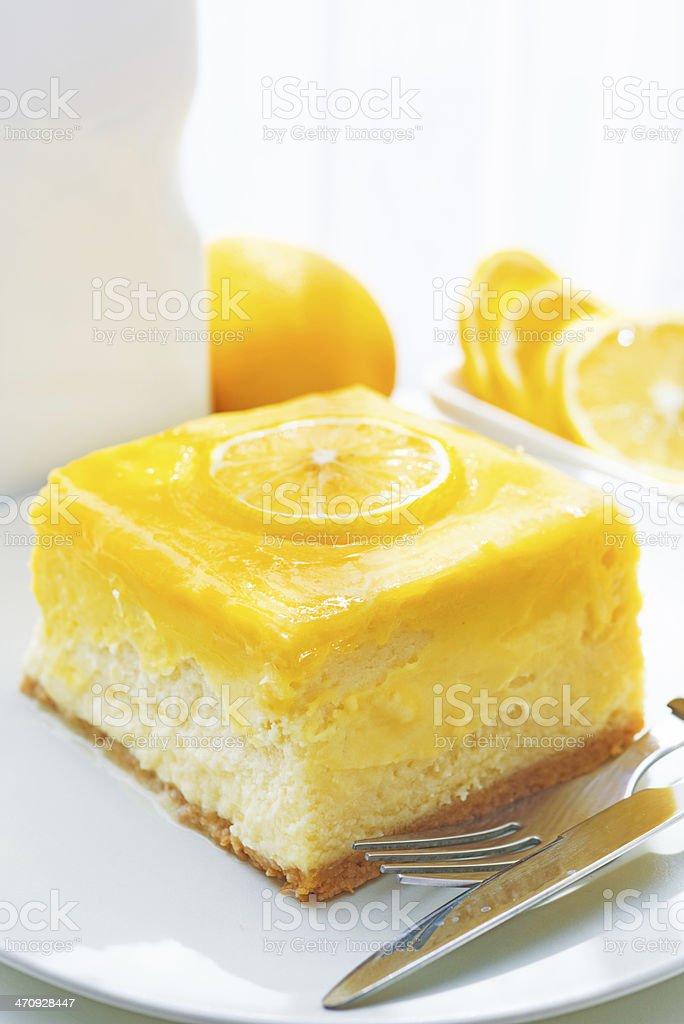 Lemon tart slice stock photo