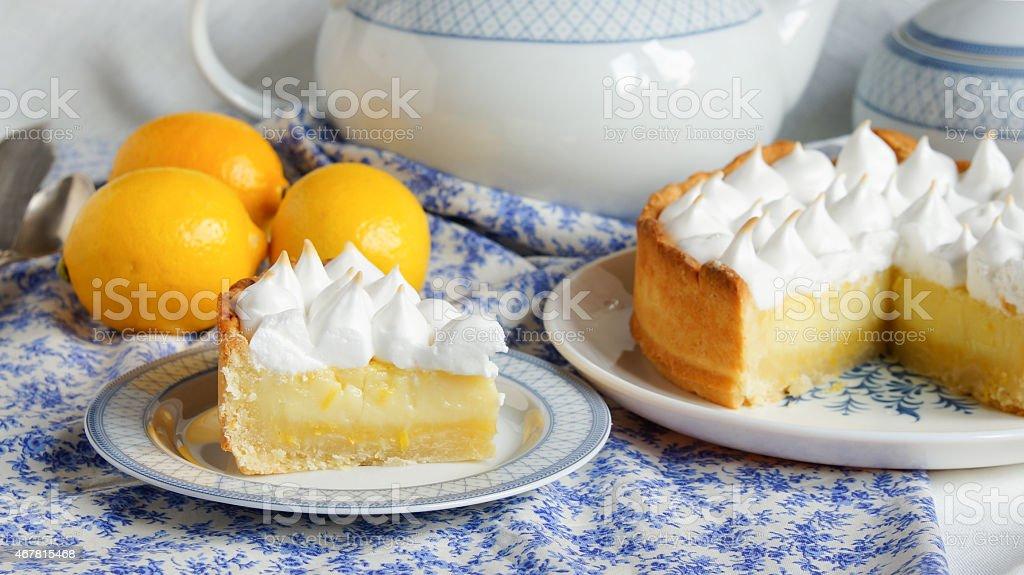 lemon tart with meringue stock photo