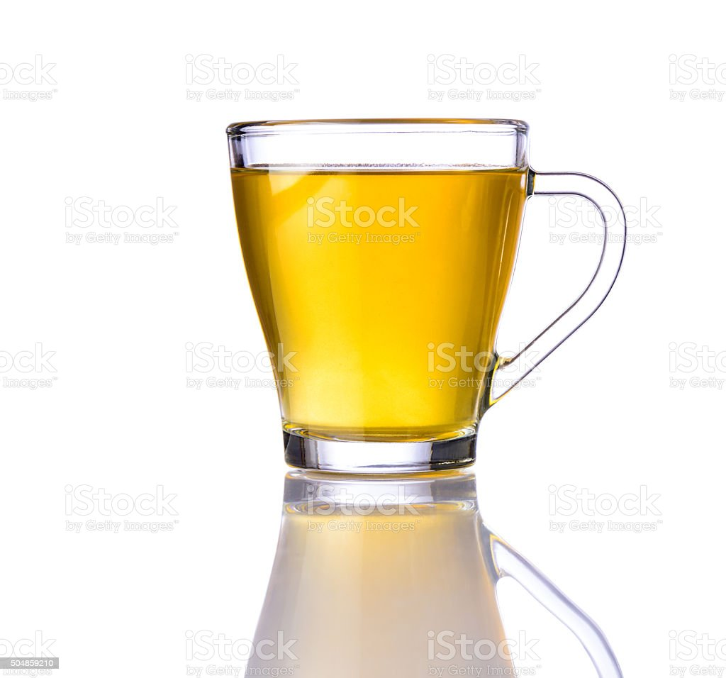 Lemon Tea in Glass Cup stock photo