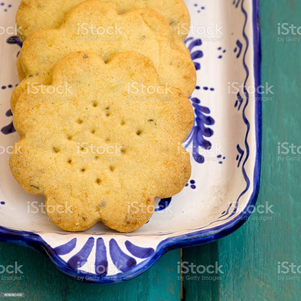 Lemon Thyme Flower Shaped Shortbread Cookies stock photo