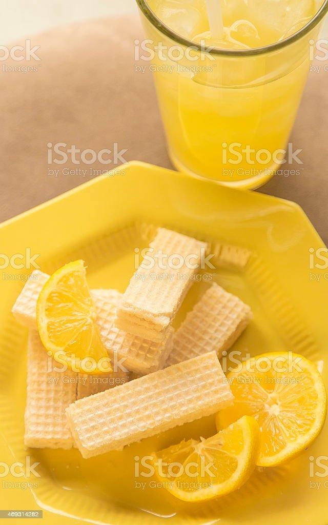 Lemon Wafers with Lemonade and Lemons stock photo
