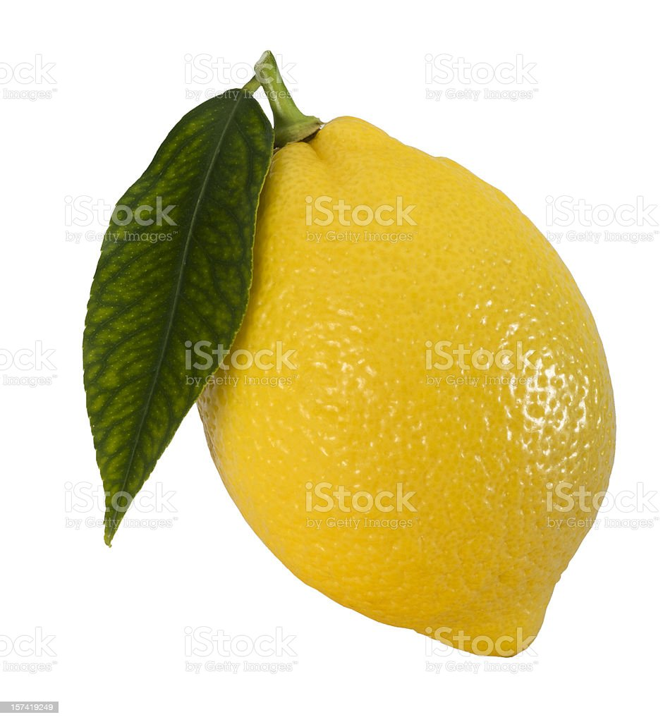 Lemon with leaf [clipping path] stock photo