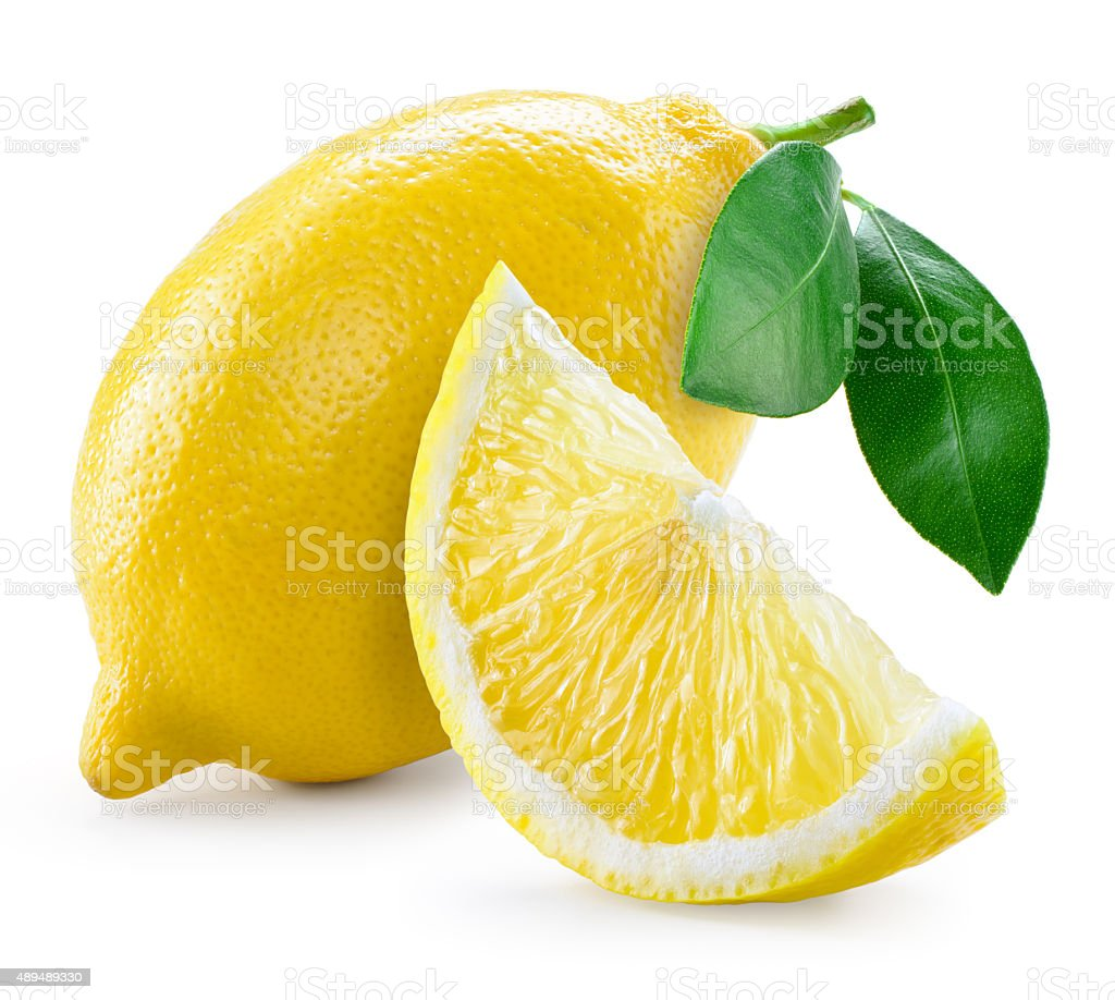 Lemon with leaves isolated on white stock photo