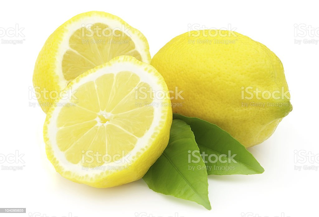 Lemon with leaves royalty-free stock photo