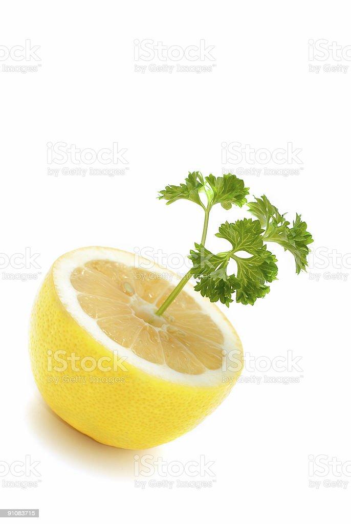 Lemon with parsley stock photo